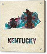 Polygon Mosaic Parchment Map Kentucky Acrylic Print