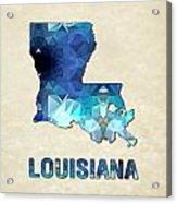 Polygon Mosaic Parchment Map Louisiana Acrylic Print