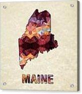 Polygon Mosaic Parchment Map Maine Acrylic Print