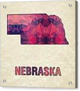 Polygon Mosaic Parchment Map Nebraska Acrylic Print