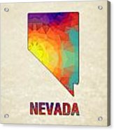 Polygon Mosaic Parchment Map Nevada Acrylic Print
