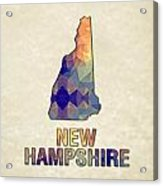 Polygon Mosaic Parchment Map New Hampshire Acrylic Print