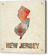 Polygon Mosaic Parchment Map New Jersey Acrylic Print