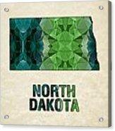 Polygon Mosaic Parchment Map North Dakota Acrylic Print