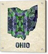 Polygon Mosaic Parchment Map Ohio Acrylic Print