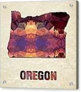 Polygon Mosaic Parchment Map Oregon Acrylic Print
