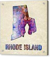 Polygon Mosaic Parchment Map Rhode Island Acrylic Print