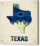 Polygon Mosaic Parchment Map Texas Acrylic Print
