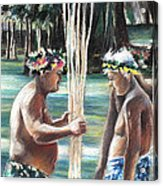 Polynesian Men With Spears Acrylic Print