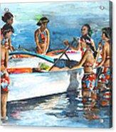 Polynesian Vahines Around Canoe Acrylic Print