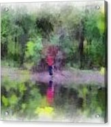 Pond Fishing Photo Art Acrylic Print