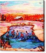 Pond Hockey Game By Montreal Hockey Artist Carole Spandau Acrylic Print