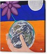 Pondering Creation Hand And Globe Acrylic Print
