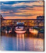 Ponte Vecchio At Sunset Acrylic Print