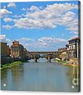 Ponte Vecchio Over The Arno River At Florence Italy Acrylic Print