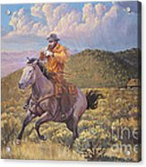 Pony Express Rider At Look Out Pass Acrylic Print
