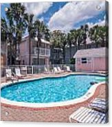 Pool And Cottages Acrylic Print