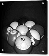 Pool Balls In Black And White Acrylic Print