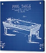 Pool Table Patent From 1901 - Blueprint Acrylic Print