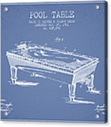 Pool Table Patent From 1901 - Light Blue Acrylic Print