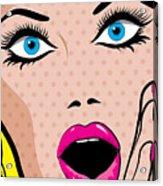 Pop Art Excited Woman. Vector Acrylic Print