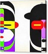 Pop Art People Row White Background Acrylic Print