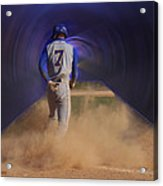 Pop Slide At Third Base Acrylic Print by Thomas Woolworth