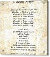 Pope Francis St. Francis Simple Prayer Butterfly Garden Acrylic Print