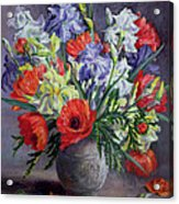 Poppies And Irises Acrylic Print by Anthea Durose