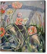 Poppies And Metal Things Acrylic Print