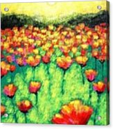 Poppies At Twilight    Cropped Version Acrylic Print