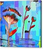 Poppies On Blue 3 Acrylic Print