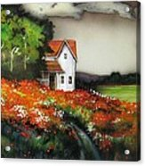 Poppies On The Old Homestead Acrylic Print by Kendra Sorum