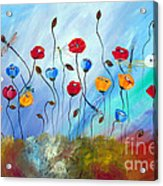 Poppy And Dragonfly Acrylic Print
