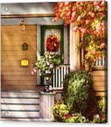 Porch - Cranford Nj - Simply Pink Acrylic Print by Mike Savad