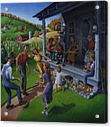 Porch Music And Flatfoot Dancing - Mountain Music - Farm Folk Art Landscape - Square Format Acrylic Print