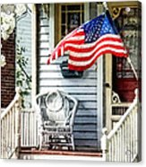 Porch With Flag And Wicker Chair Acrylic Print