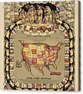 Pork Map Of The United States From 1876 Acrylic Print