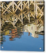 Port Clyde Maine Lobster Traps Reflecting In Water Acrylic Print