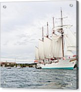 Juan Sebastian De Elcano Famous Tall Ship Of Spanish Navy Visits Port Mahon In Front Of Bloody Islan Acrylic Print