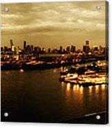 Port Miami Golden Photopaint Acrylic Print