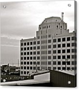 Port Of Galveston Building In B And W Acrylic Print