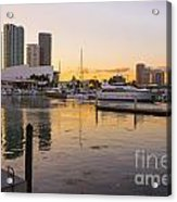 Port Of Miami At Sunset Acrylic Print