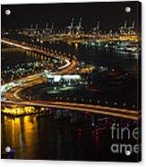 Port Of Miami Macarthur Causeway Acrylic Print