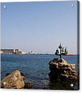 Port Of The Myloi And Dolphins - Rhodos Citys Acrylic Print