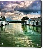 Storm Clouds Over  Port Royal Boathouses In Naples Acrylic Print