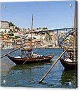 Port Wine Boats In Porto City Acrylic Print
