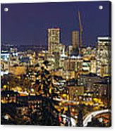 Portland Cityscape And Freeway At Blue Hour Acrylic Print