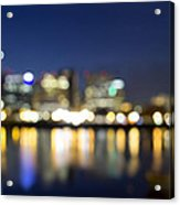 Portland Downtown Out Of Focus City Lights Acrylic Print
