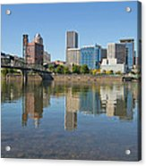 Portland Downtown Skyline And Hawthorne Bridge Acrylic Print